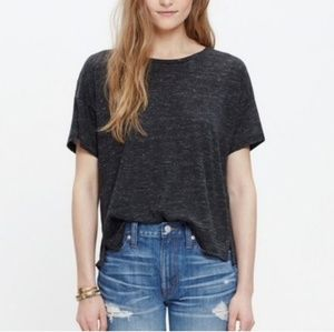 Madewell charcoal gray 100% linen oversized top